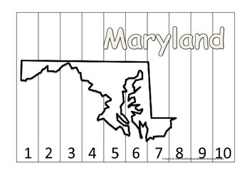 Maryland Number Sequence Puzzle.  Learn the States preschool printable game.