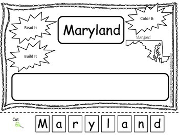 Maryland Read it, Build it, Color it Learn the States preschool worksheet.