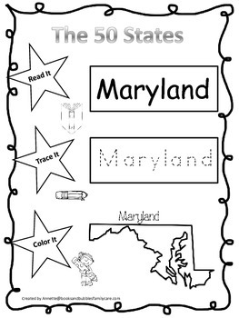 Maryland Read it, Trace it, Color it Learn the States preschool worksheeet.