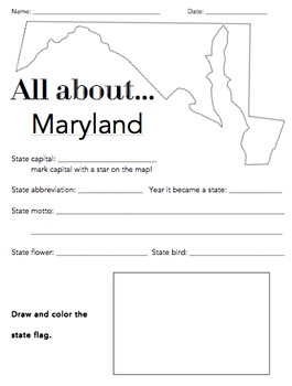 Maryland State Facts Worksheet: Elementary Version