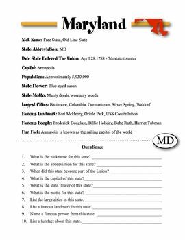 Maryland State Information & Worksheet