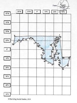 Maryland State Latitude and Longitude Coordinates Puzzle - 51 Points to Plot