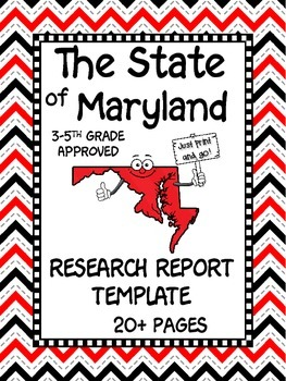 Maryland State Research Report Project Template + bonus timeline Craftivity MD