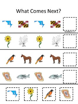 Maryland State Symbols Themed What Comes Next Printable Preschool Game