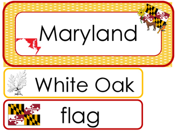 Maryland State Word Wall Bulletin Board Set. Geography Curriculum.
