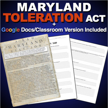 Maryland Toleration Act Worksheet - Primary Source (American Colonies)