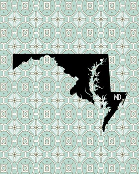 Maryland Vintage State Map or Poster Class Decor, Classroom Decoration
