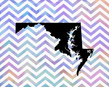 Maryland Chevron State Map Class Decor, Government, Geography