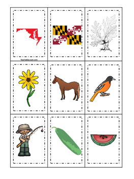 Maryland themed Memory Matching and Word Matching preschool curriculum game