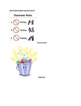 Marzano Academic Binder- ESL Block Kindergarten Social Studies Pictures/Terms