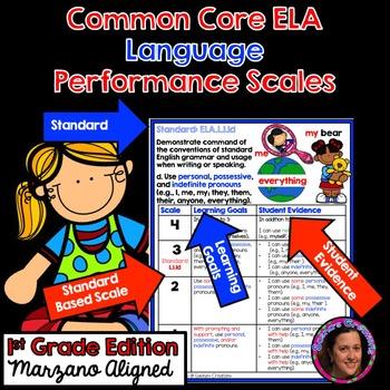 Marzano Aligned Common Core ELA Language Performance Scales 1st Grade