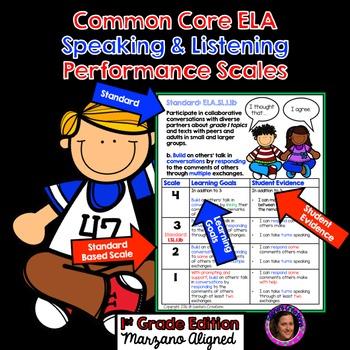 Marzano Aligned Common Core ELA SL Performance Scales 1st Grade