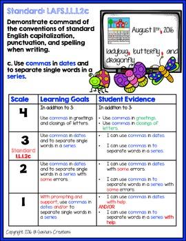 Marzano Aligned Florida LAFS Language Performance Scales 1st Grade