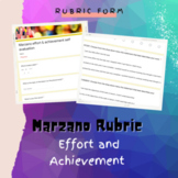 Marzano Effort and Achievement Rubric (for google forms)