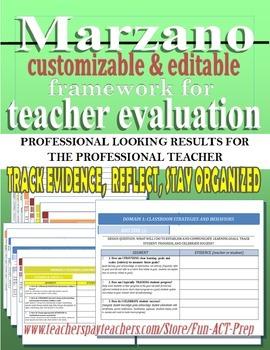 Marzano Framework for Teacher Evaluation (APPR) Editable Portfolio