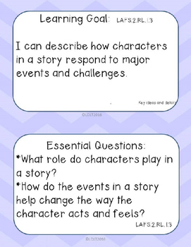 "ELA- Marzano ""I can"" Statements and Essential Questions- 2nd grade Fl- Chevron"