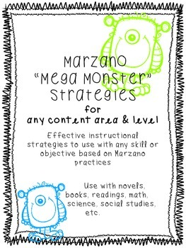 "Marzano ""Mega Monster"" Strategies for all Content Areas- Reading,history,science"