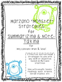 "Marzano ""Monster"" Strategies for Summarizing and Note-Taking - all content areas"