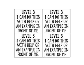 Marzano Proficiency Scale of Understanding Desk Tags