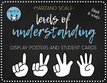 Marzano Scale Level of Understanding Student Self Assessment Tool(Black & White)