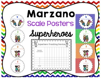 Marzano Scale Levels & Tracking Progress Poster {Superheroes}