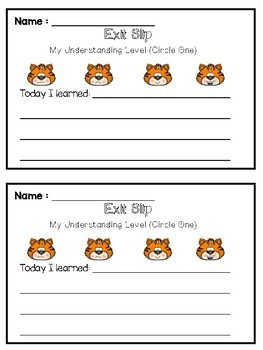 Tiger Themed - Marzano Scale of Understanding