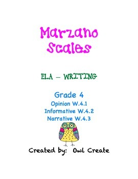 Marzano Scales CCSS Writing Grade 4