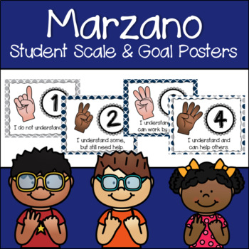 Marzano Set of Learning Scale, Goal & Target Posters in Blue & Gray