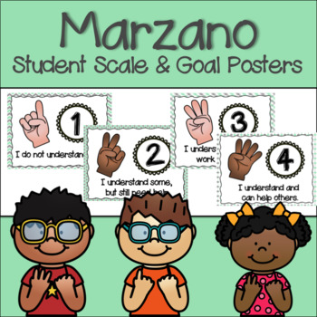 Marzano Set of Learning Scale, Goal & Target Posters in Mint Green & Gray