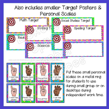 Marzano Set of Learning Scale, Goal & Target Posters in Polka Dots