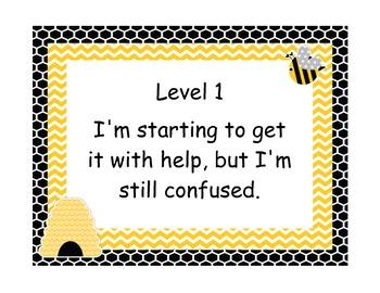 Marzano Student Levels Bee Themed Classroom