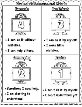 FREE Marzano Student Self-Assessment Rubric
