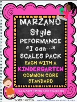 Marzano Style Performance Scales Kindergarten Pack