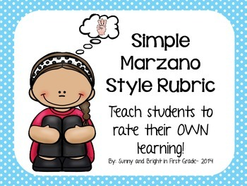 Marzano Style Primary Rubric- Posters, Bookmarks & More!