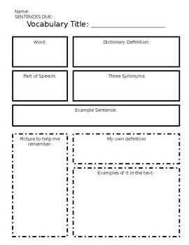 Marzano Style Vocabulary Graphic Organizer