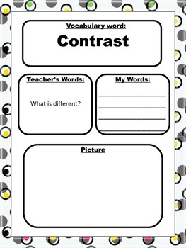 Marzano Style Vocabulary Pages for Language Arts