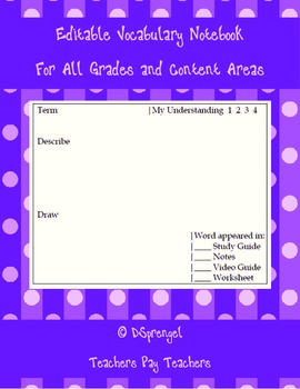 Marzano Vocabulary Notebook Journal - Editable for all Gra
