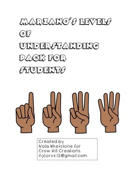 Marzano's Levels of Understanding Pack for Students