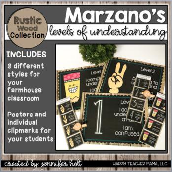 Marzano's Levels of Understanding in Rustic Wood