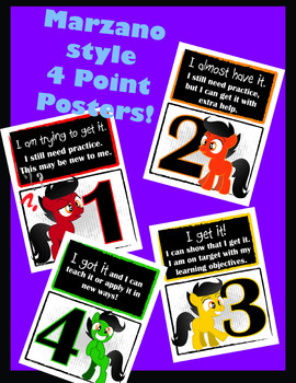 Marzano style 4 point posters - pony - levels of learning / understanding