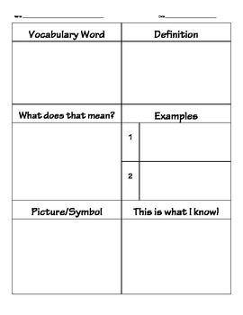 Marzano 6 step vocabulary template images template for Marzano vocabulary template