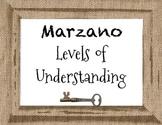 Marzano's Levels of Understanding Burlap Posters