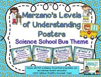 Marzano's Levels of Understanding Posters: Science School Bus Theme