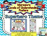 Marzano's Levels of Understanding Self-Assessment Posters: Superhero Theme