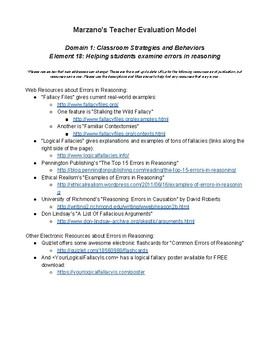 Marzano's Teacher Evaluation Model: Domain 1, Element 18 - Errors of Reasoning