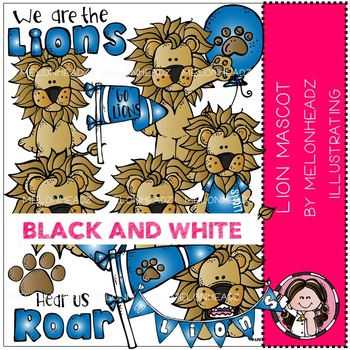 Mascot Lion clip art - BLACK AND WHITE- by Melonheadz