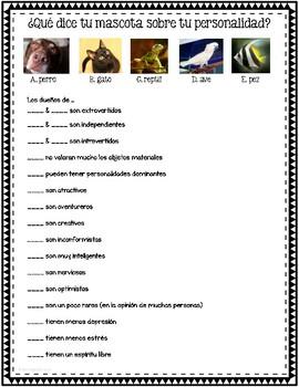 Mascotas + Personalidad Survey, Discussion, Reading, & Activity