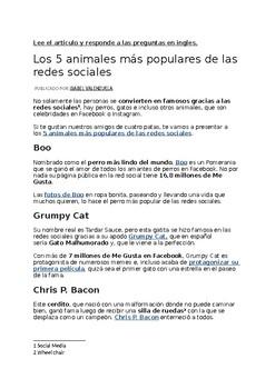 Mascotas artículo, y Perfil de Facebook - Pets Article and Facebook Profile