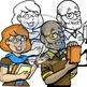 Mascots-Librarians: 4 pc. Clip-Art Set (BW and Color!)