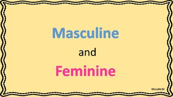 Masculine and Feminine Flash Cards